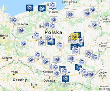 Mapa sieci hurtowni elektrotechnicznej Grodno